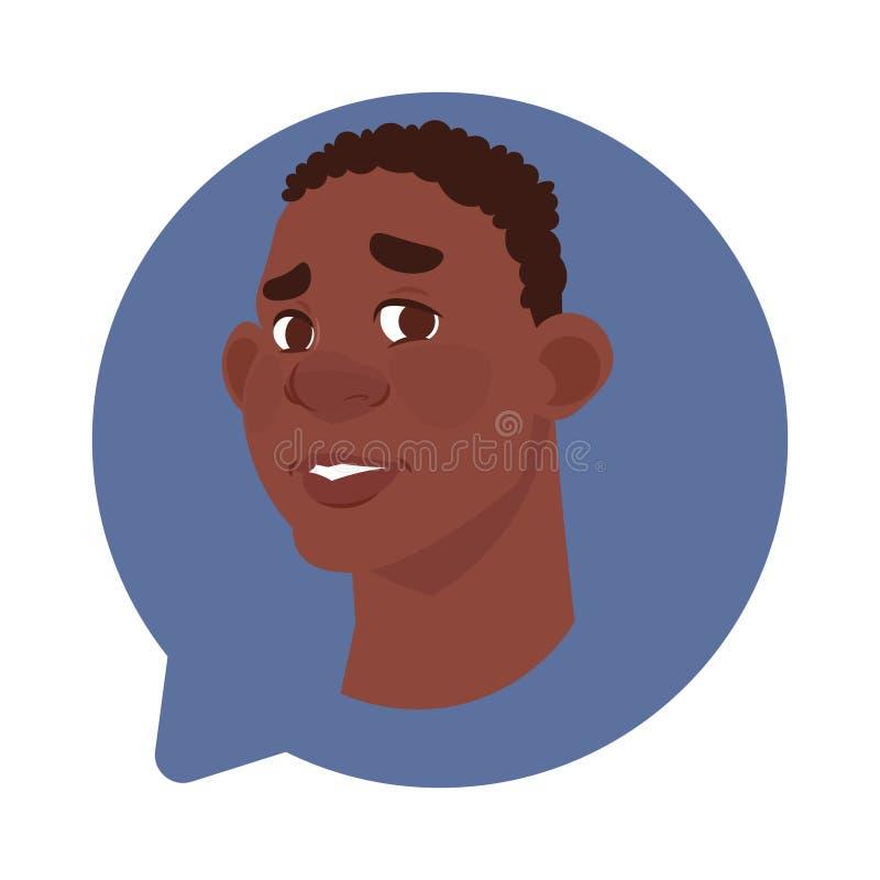 在被隔绝的闲谈泡影,人具体化漫画人物画象的外形象Afrian美国男性头 向量例证