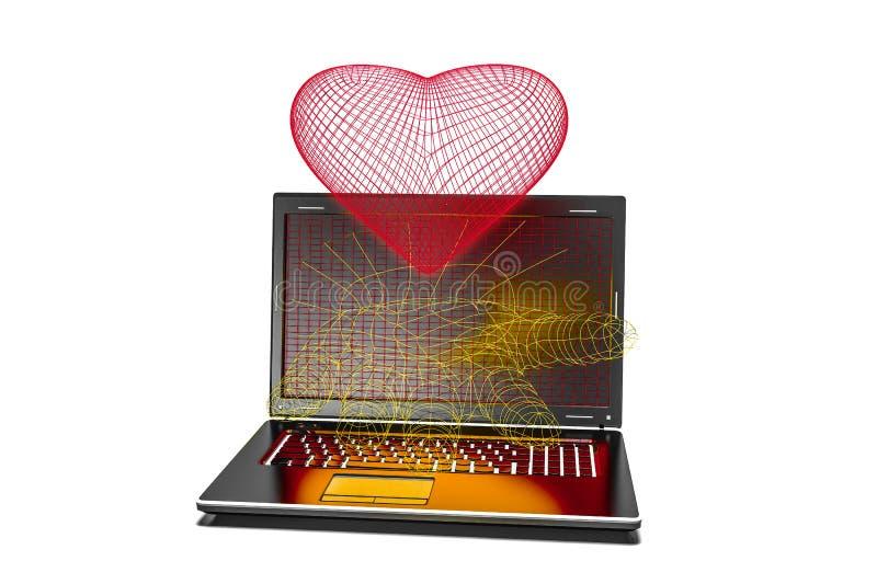 在被隔绝的现代膝上型计算机的心脏背景 皇族释放例证