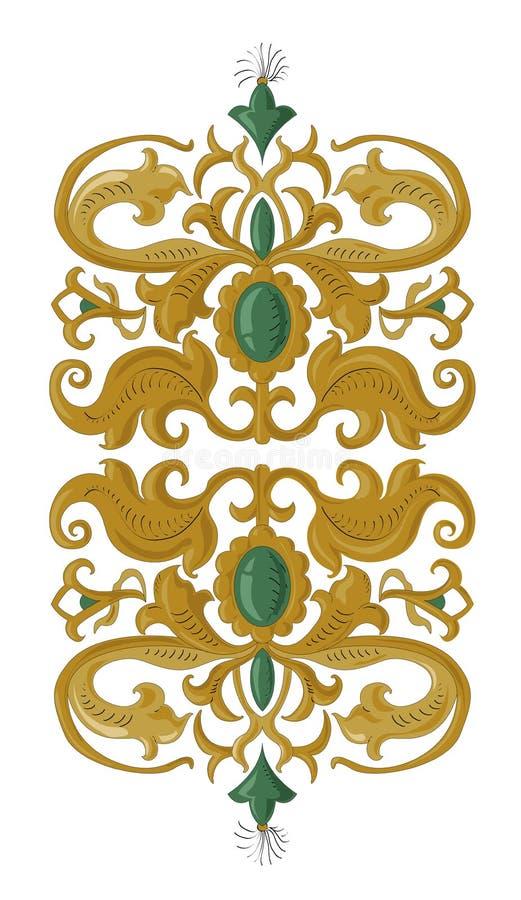 在被隔绝的白色的传统中世纪装饰元素 库存例证