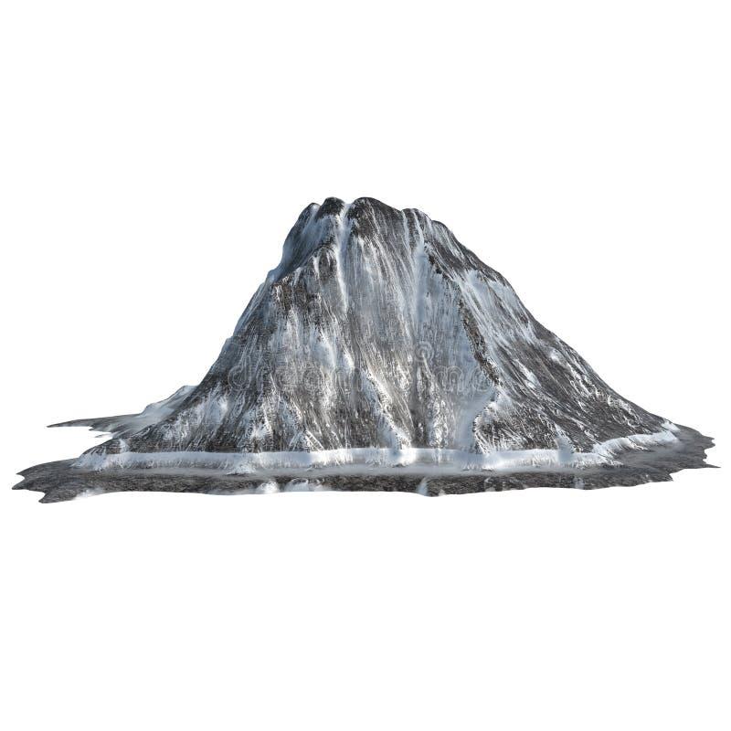 在被隔绝的白色背景的斯诺伊火山 3D例证,回报 皇族释放例证