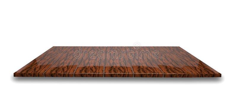 在被隔绝的空的优美的黑暗的木桌或柜台上的顶视图 库存例证