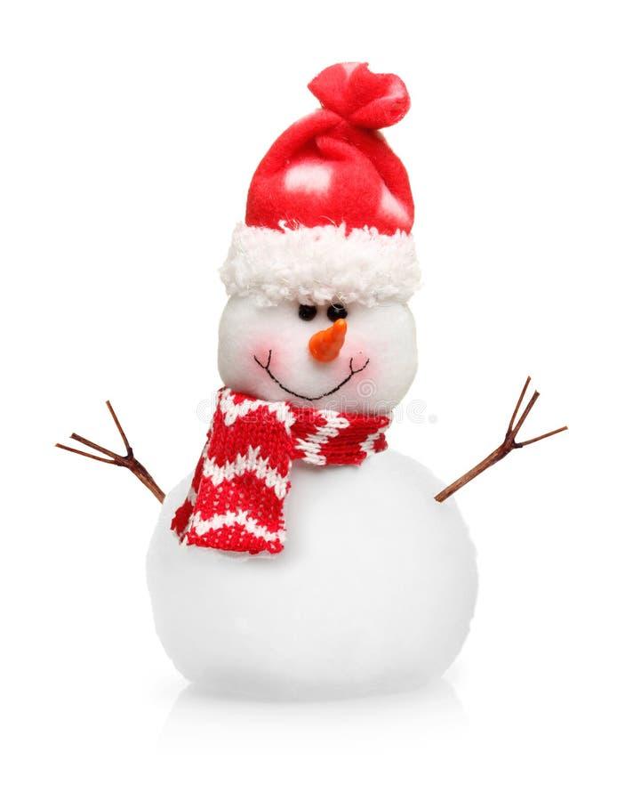 在被隔绝的红色帽子的雪人 库存图片
