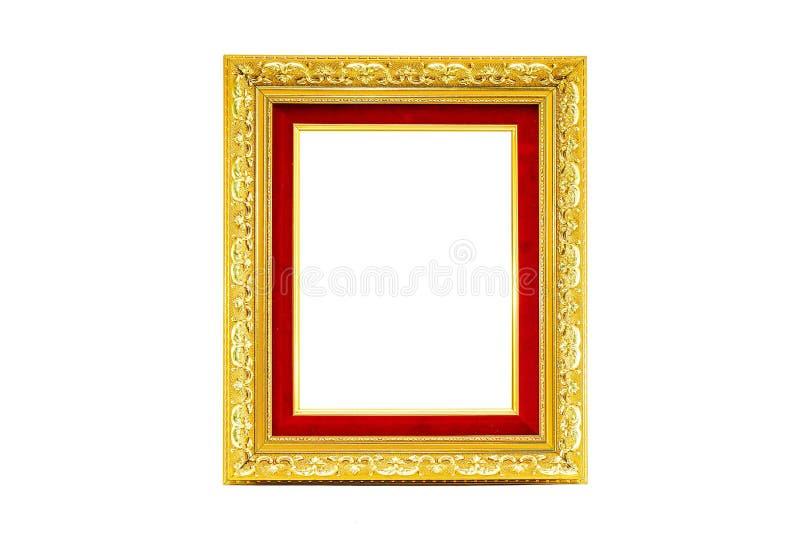 在被隔绝的背景的金黄照片框架 免版税库存图片