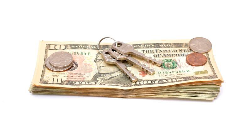 在被隔绝的金钱美元的钥匙 库存图片