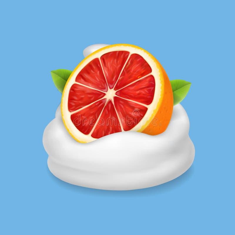 在被鞭打的奶油或酸奶的成熟葡萄柚 自然乳制品 向量例证