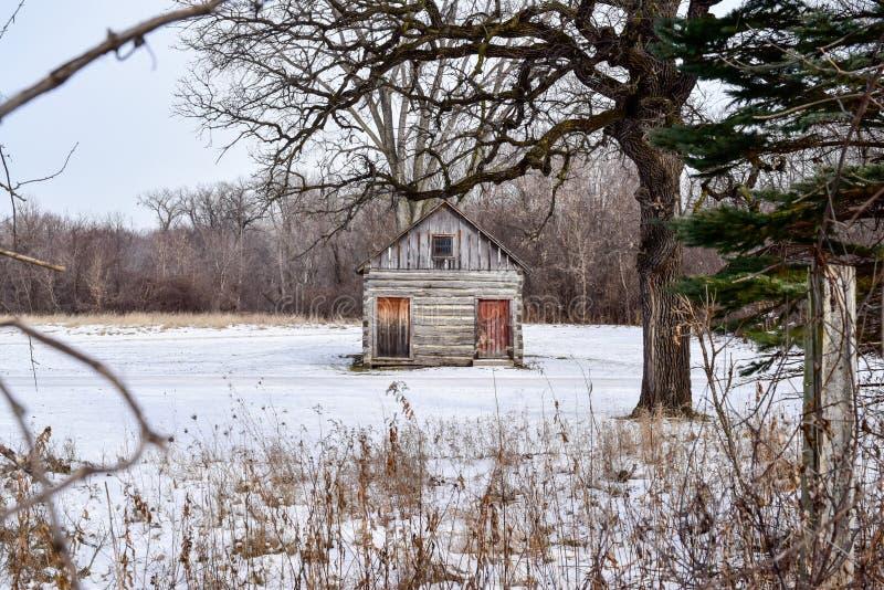 在被风化的木头的被放弃的农舍在一个多雪的领域 免版税库存图片
