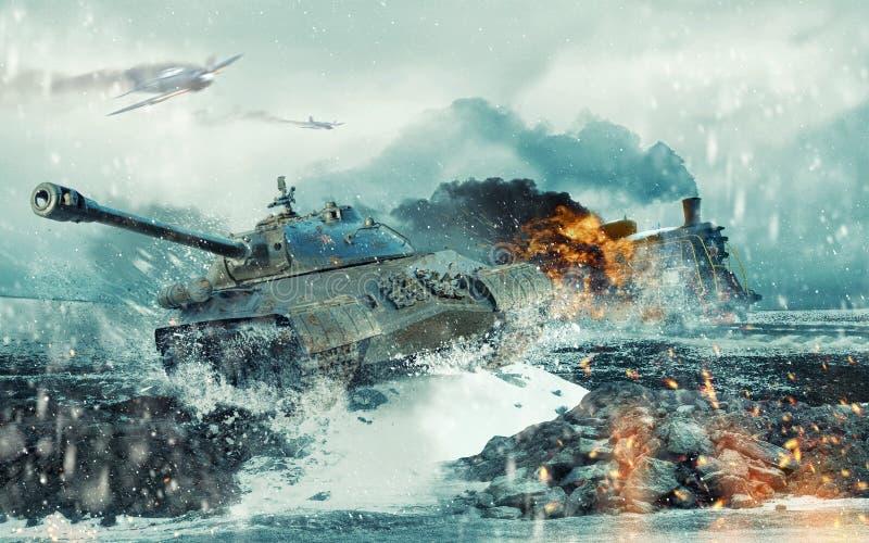 在被攻击的灼烧的机车的背景的苏联坦克 皇族释放例证