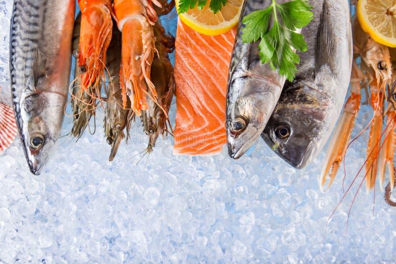 在被击碎的冰的新鲜的海鲜 免版税库存照片
