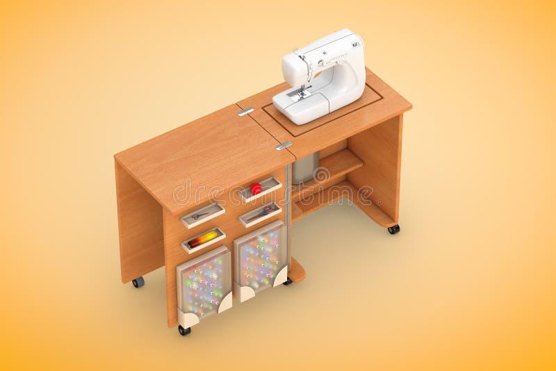 在裁缝车间木表上的缝纫机 3d翻译 皇族释放例证