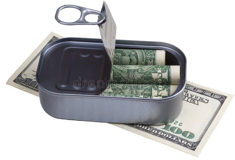 在装于罐中的钞票 库存图片
