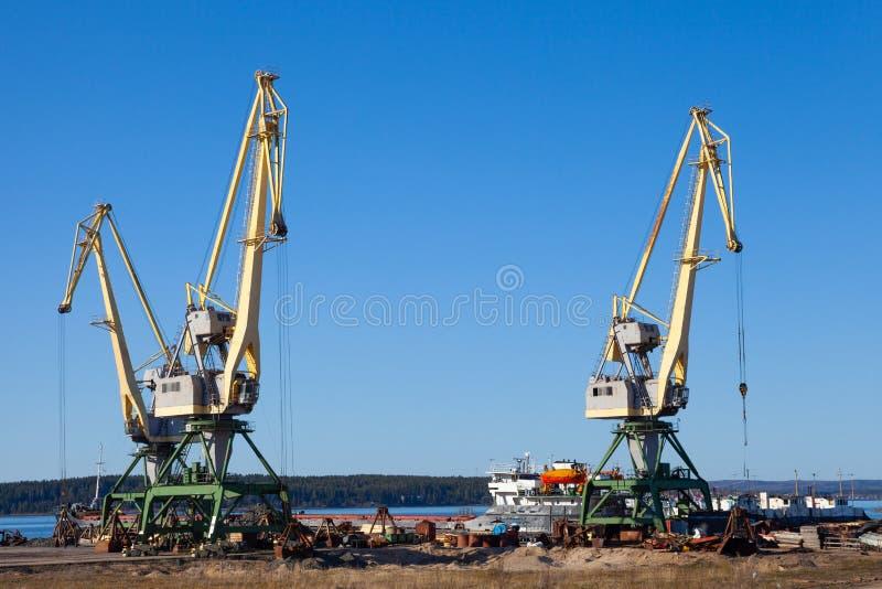 在装载和卸载板台的机械和铲车口岸的起重机在一个晴朗的夏日 免版税库存照片
