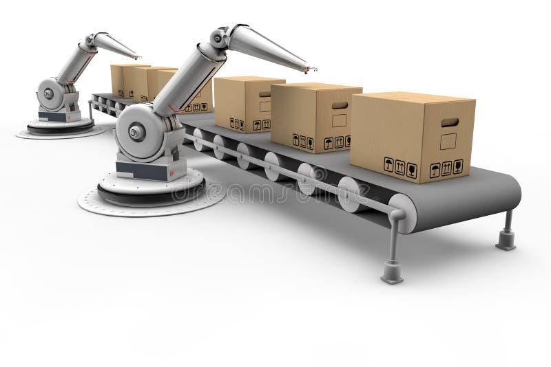 在装配线的被明确表达的机器人 库存例证