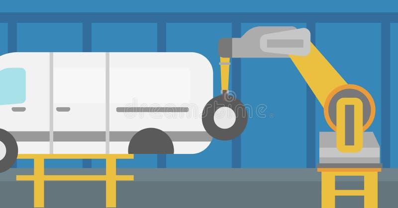 在装配车间的工厂机器人聚集的车 库存例证