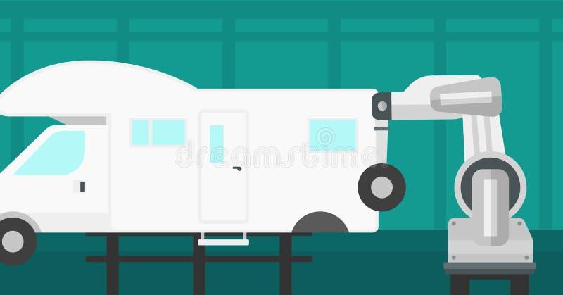 在装配车间的工厂机器人聚集的车 皇族释放例证