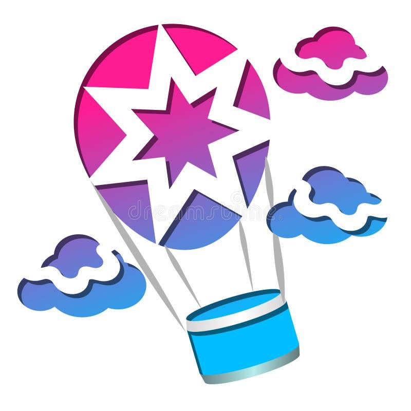 在装饰明信片的云彩中的气球,飞行物,横幅,网站,海报 库存例证