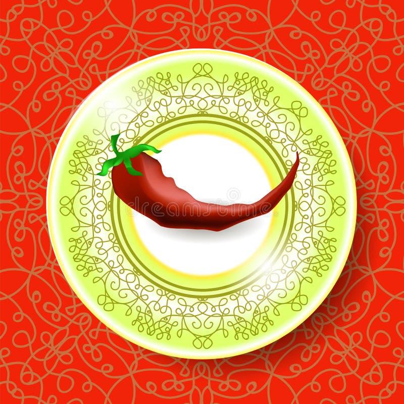 在装饰桌布的热的红辣椒 向量例证