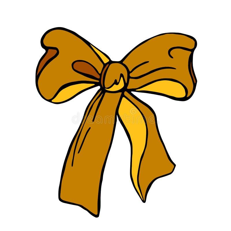 在装饰的白色背景和织品元素设计隔绝的丝带黄色蝴蝶结 向量例证