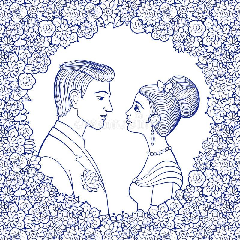 在装饰花卉框架的年轻夫妇 向量例证