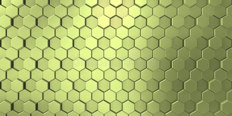 在装饰表面的淡黄色颜色与明亮的六角形 皇族释放例证