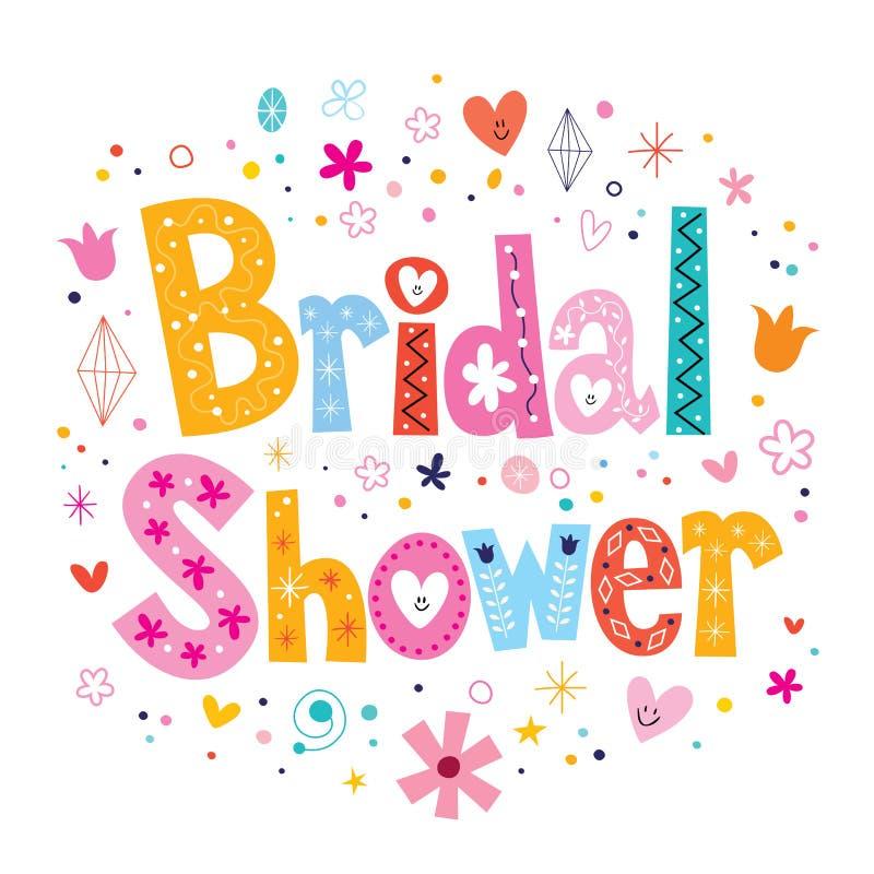 在装饰类型上写字的新娘阵雨卡片设计 皇族释放例证