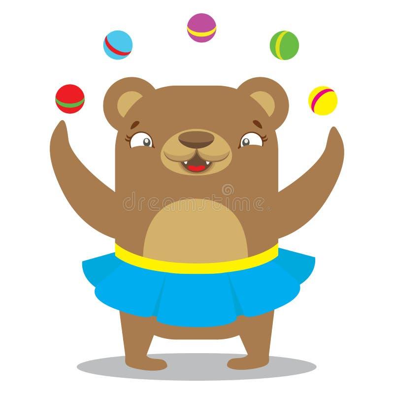 在裙子玩杂耍的球的马戏熊 马戏概念 平的cartoo 库存例证