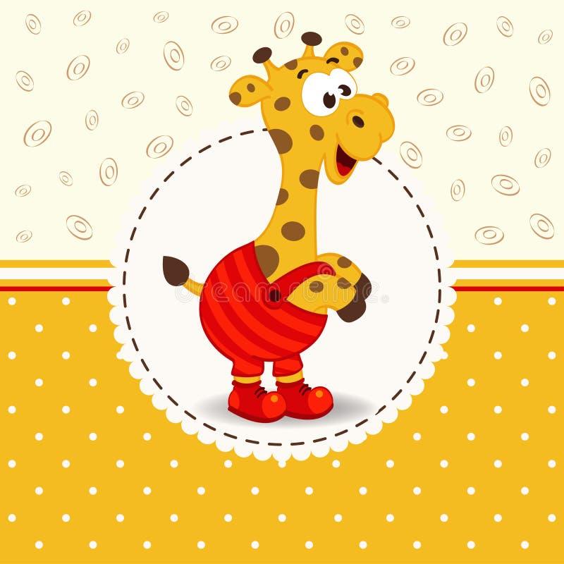 在裤子的长颈鹿 皇族释放例证