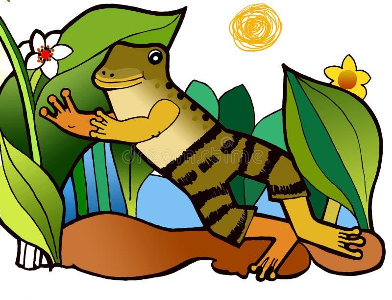在裤子的青蛙,彩图 库存例证
