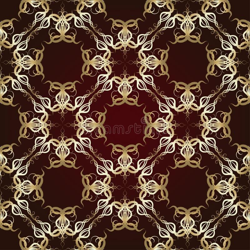 在褐红的背景的无缝的样式 向量例证