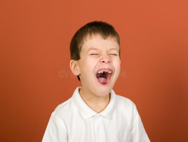 在褐色的做鬼脸的男孩画象 库存照片