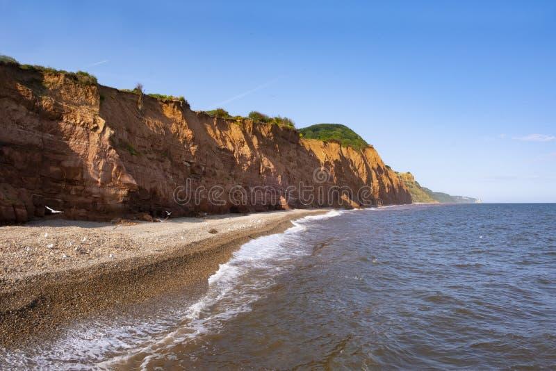 在西德茅斯、红砂岩峭壁和海滩的侏罗纪海岸 库存图片