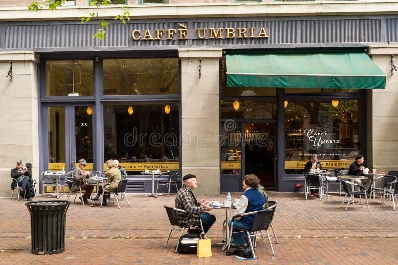 在西方人的大道,西雅图, WA的Caffe翁布里亚 免版税库存照片