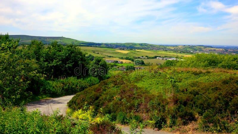 在西方叶绿泥石的领域在Darwen附近停泊 库存照片