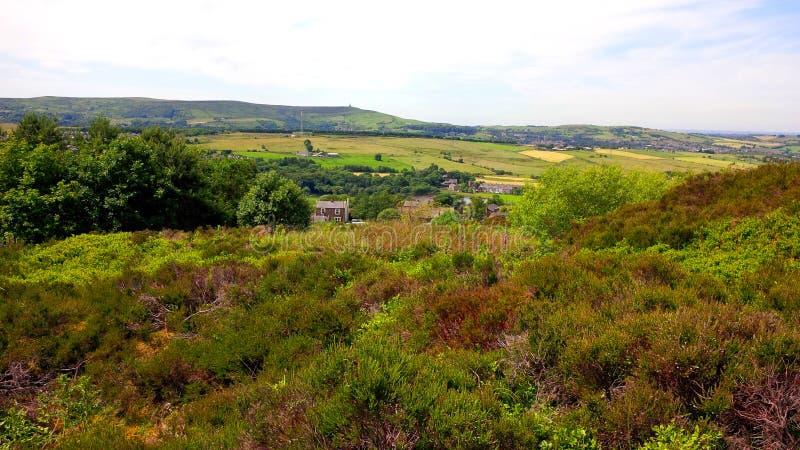 在西方叶绿泥石的领域在Darwen附近停泊 图库摄影