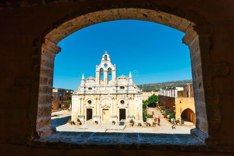 在西方门的通道在Arkadi修道院, Arkadi,克利特,希腊 免版税库存图片