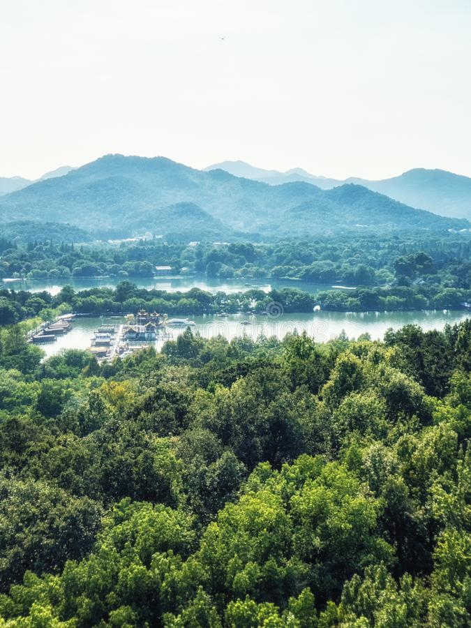 在西湖的口岸在杭州,中国 库存图片