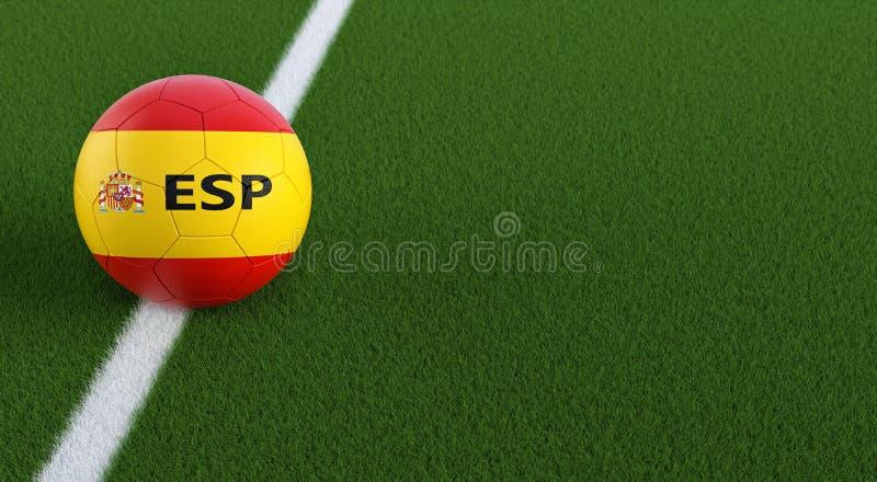 在西班牙全国颜色的足球在足球场 复制在正确的边的3D翻译的空间 向量例证