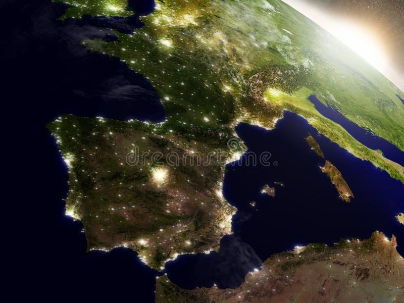 在西班牙和葡萄牙的日出 皇族释放例证