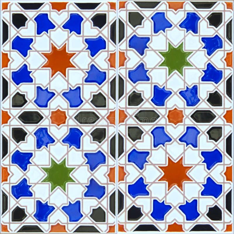 在西班牙安达卢西亚的样式的无缝的陶瓷砖 免版税库存照片