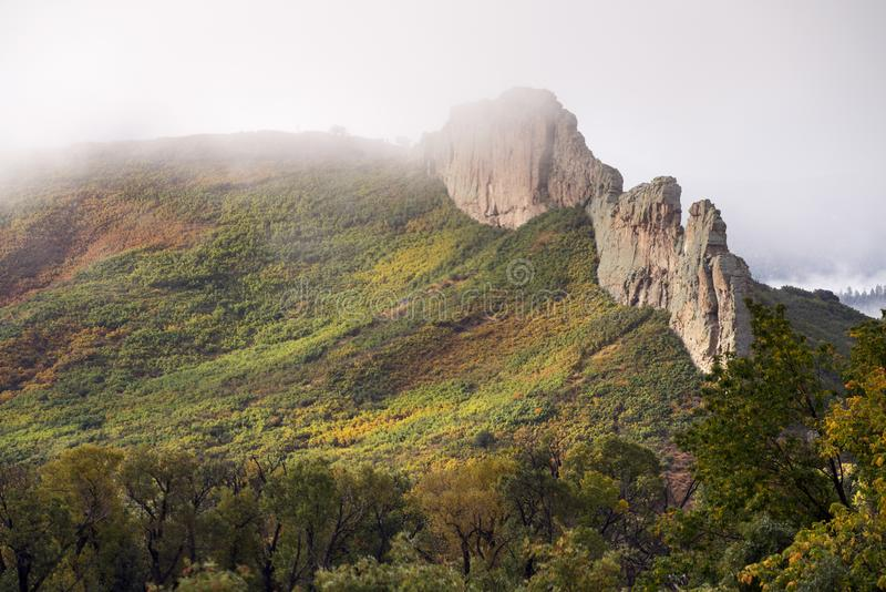 在西班牙峰顶的火山的堤堰 库存照片