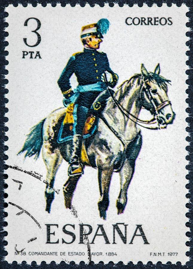 在西班牙打印的邮票显示职员的司令员1894 库存图片
