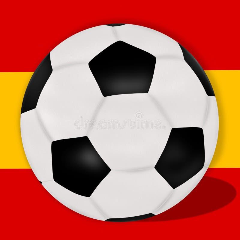 在西班牙旗子前面的足球 皇族释放例证