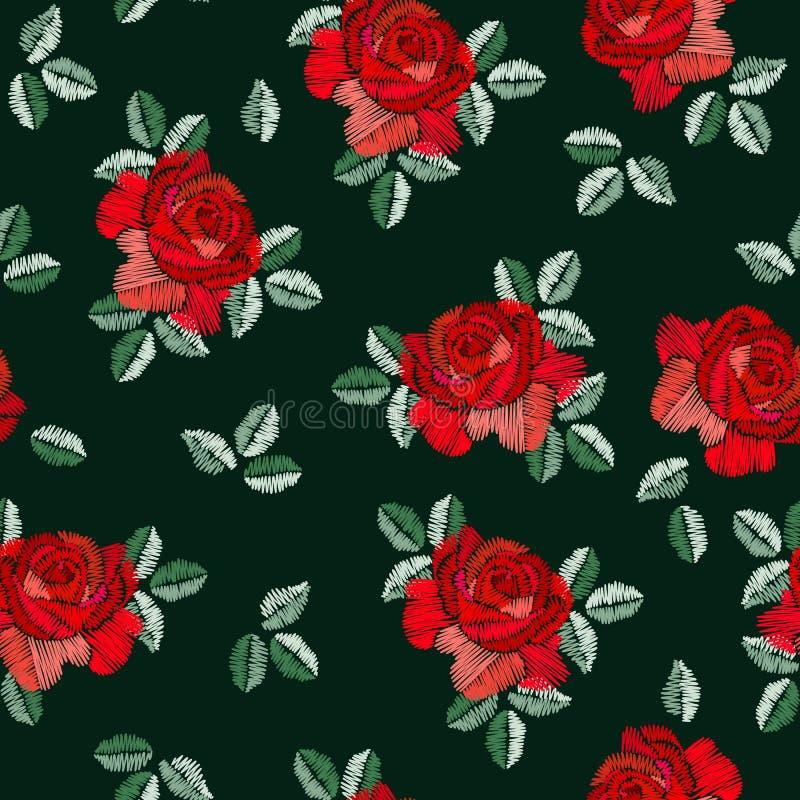 在西班牙样式的刺绣无缝的样式与在黑背景的红色玫瑰色花 时尚设计 曼顿披肩 库存例证