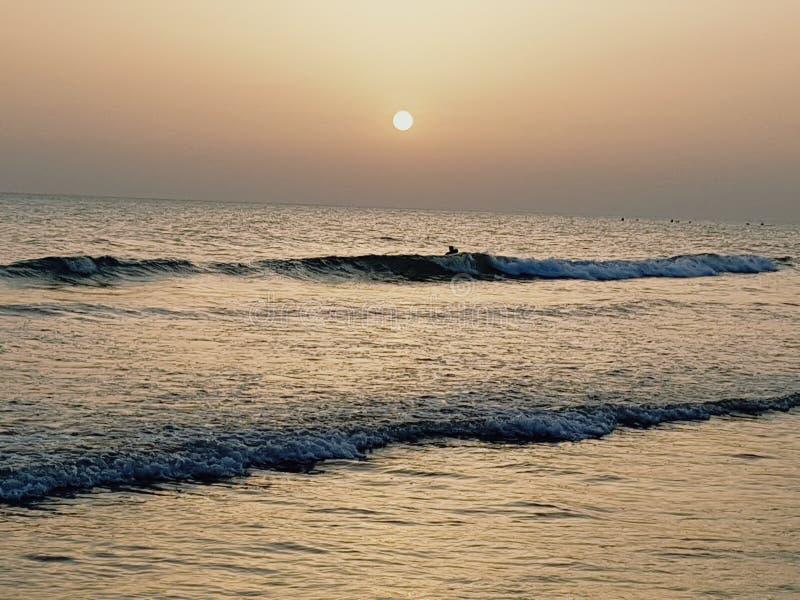 在西班牙海岸的日落 免版税库存照片