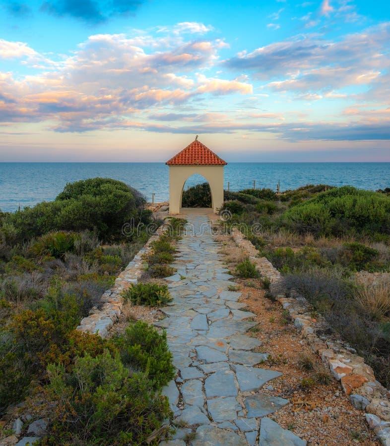 在西班牙海岸的眺望台 库存图片