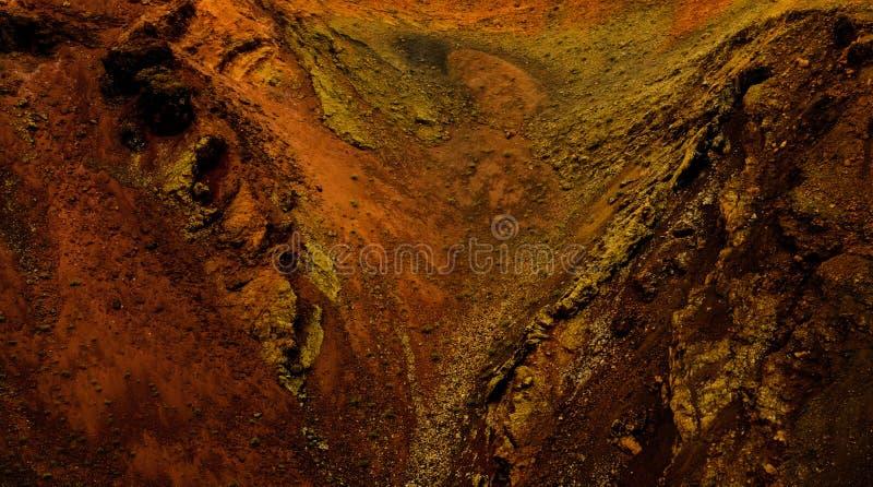 在西班牙的兰萨罗特岛海岛构造火山的结冰的熔岩 库存图片