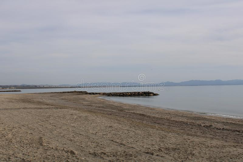 在西班牙的海岸的海滩 库存照片