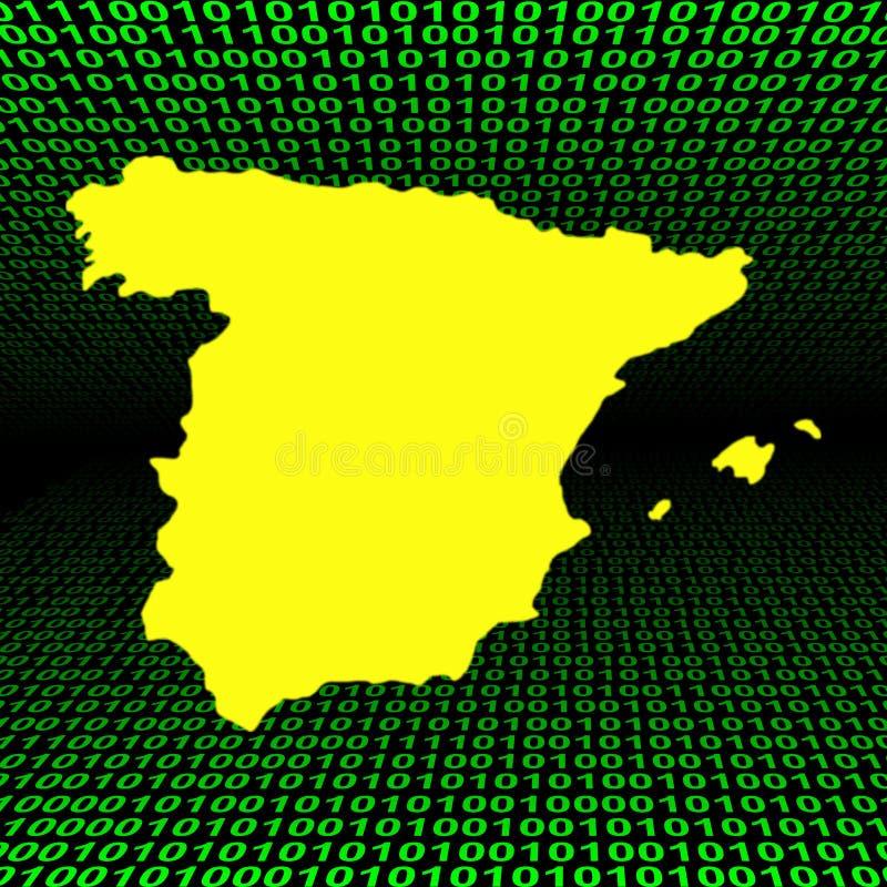 在西班牙语的二进制代码映射 向量例证