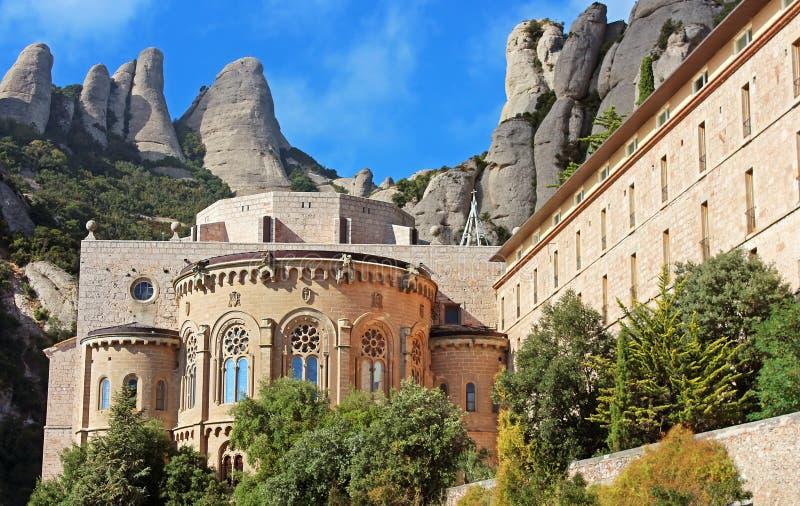 在西班牙附近的巴塞罗那修道院蒙特& 库存照片