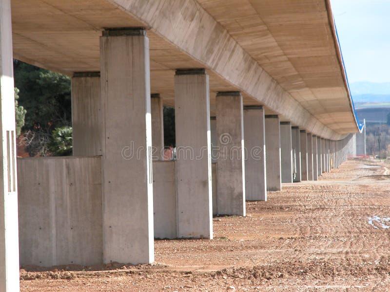 在西班牙高速火车下, AVE铁路的细节  库存图片