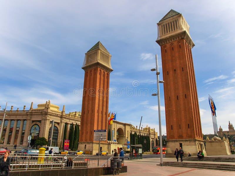 在西班牙,巴塞罗那的正方形的威尼斯式塔 库存图片